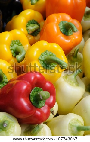 Assorted color of bell peppers close up - stock photo