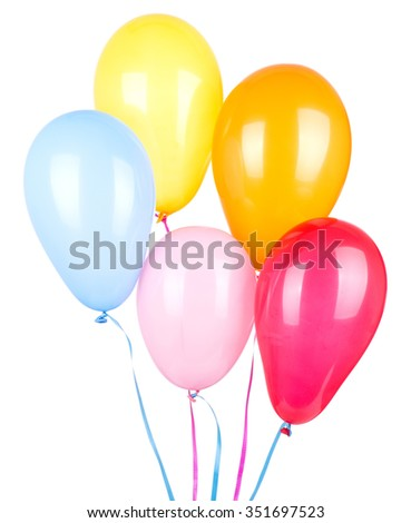 Assorted colors of birthday balloons isolated on white - stock photo