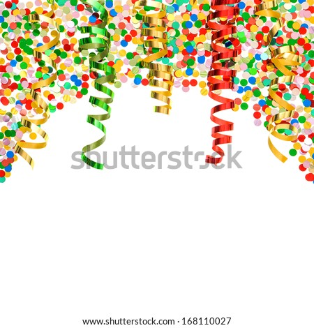 assorted confetti with shiny colorful streamer on white background. party decorations over white - stock photo