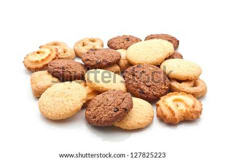 Assorted cookie isolated on white - stock photo