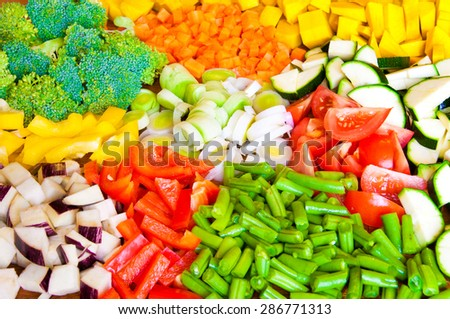 Assorted cut vegetables - stock photo