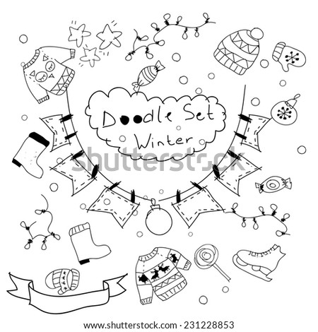 Assorted doodle Christmas black and white icons background. Happy New Year and Merry Christmas card background. New year party invitation background. Website background. - stock photo