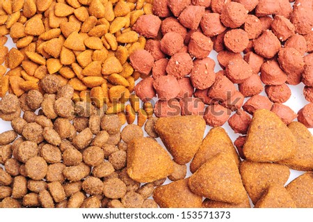 Assorted Dry dog food close up, isolated on white background - stock photo