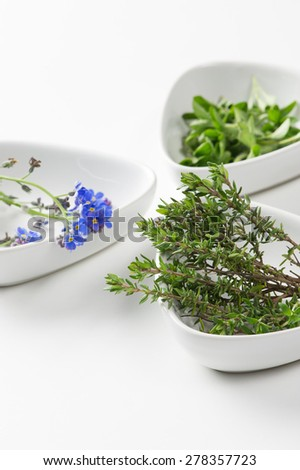 Assorted edible flowers and herbs in individual dishes with focus to springs of fresh rosemary , an aromatic pungent herb used in cooking to flavor meat dishes - stock photo