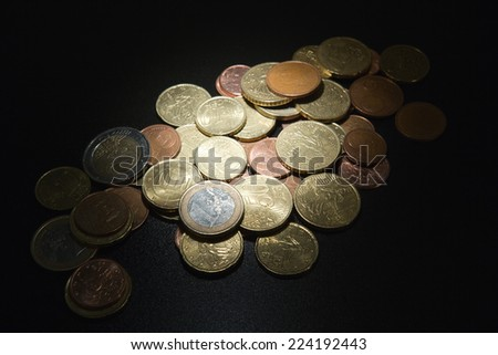 Assorted Euro coins in a pile, close-up - stock photo