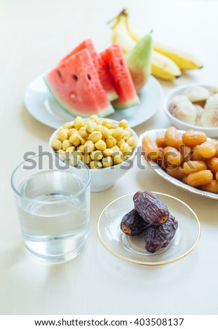 Assorted fasting food during holy month of Ramadan. Muslims all over the world observe fast during Holy month of Ramadan. - stock photo