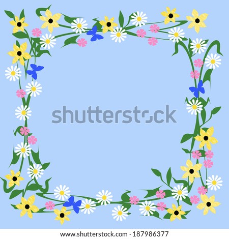 assorted flowers and butterflies frame on blue background  illustration - stock photo
