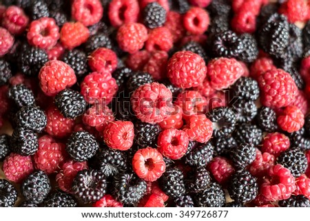 Assorted forest raspberry and blackberry, selective focus - stock photo