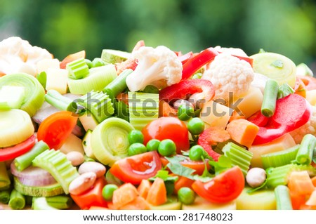 Assorted fresh cut vegetables - stock photo