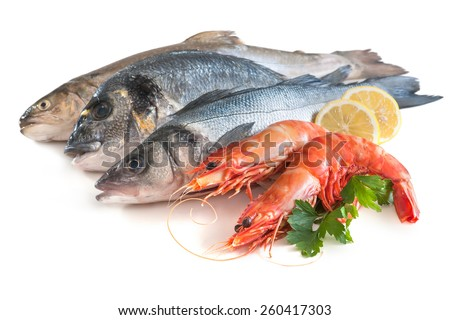 Assorted fresh seafood isolated on white background - stock photo