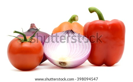Assorted fresh vegetables: capsicum bell pepper, tomatoes and onions - stock photo