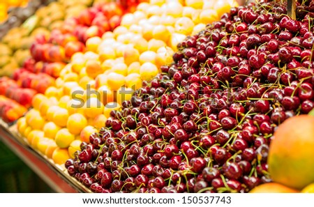 Assorted fruits in local market - stock photo