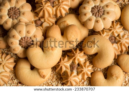 Assorted homemade cookies for Christmas - stock photo