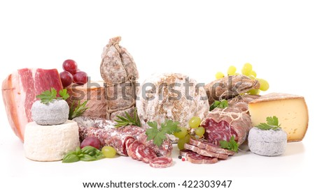 assorted meat and cheese - stock photo