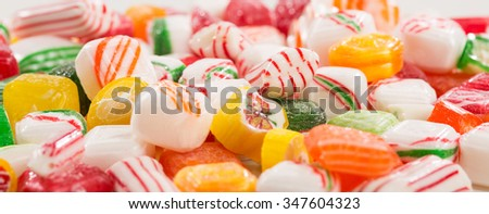 Assorted mix of colorful, hard, old time Christmas candy - stock photo