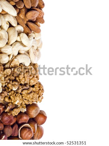Assorted nuts isolated on white background - stock photo