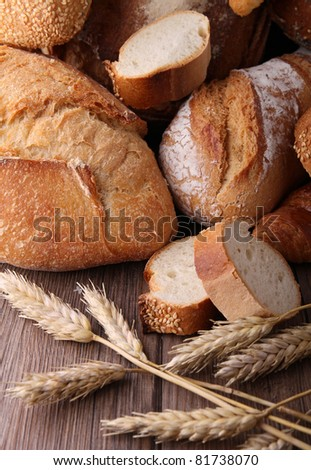 assorted of bread - stock photo