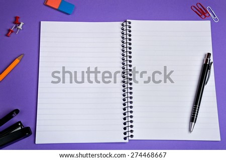 Assorted office supplies on background - stock photo
