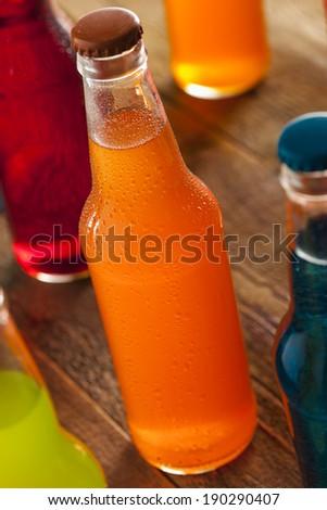 Assorted Organic Craft Orange Soda with Cane Sugar - stock photo