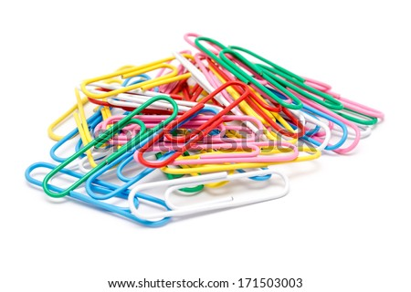 Assorted Paper Clips Isolated On White - stock photo