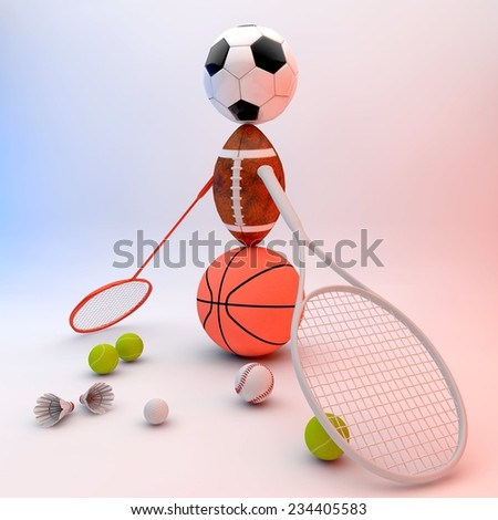 Assorted sports equipment including a basketball, soccer ball, tennis ball, baseball, tennis racket, football, birdie, badminton racket forming a person. - stock photo