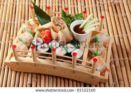 Assorted sushi Japanese food. traditional japanese food.Roll made of Smoked fish - stock photo