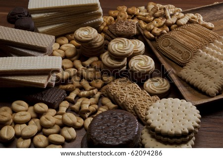 Assorted sweet wafer - stock photo