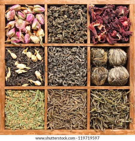 Assorted tea in wooden box - (manual focus) - stock photo
