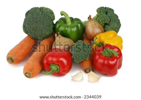 Assorted vegetables, separated on a white background, clipping path included. - stock photo