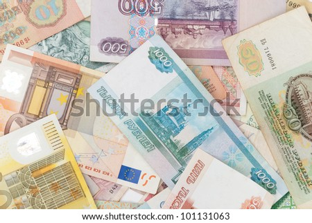 assorted world banknotes - stock photo