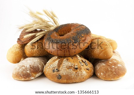 assortment bread and buns - stock photo