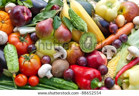 Assortment  from fruits and vegatables, close up - stock photo