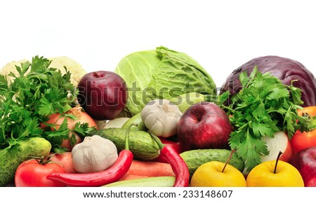assortment fruits and vegetables isolated on white - stock photo