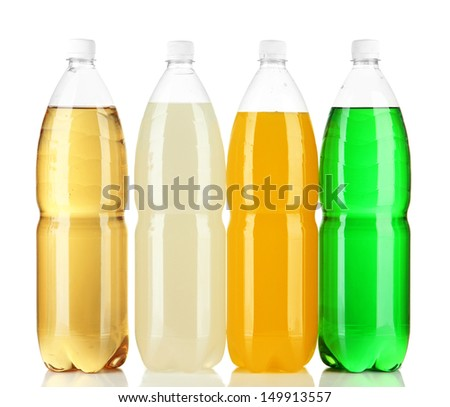 Assortment of bottles with tasty drinks, isolated on white - stock photo