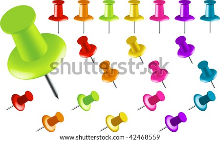 Assortment of Colored Thumbtacks at Various Angles (Another format version is in my gallery) - stock photo