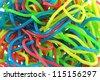 Assortment of colorful fruity Gummy Spaghetti isolated on white background - stock photo