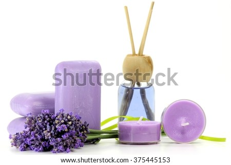 assortment of different lavender products isolated on white background - stock photo