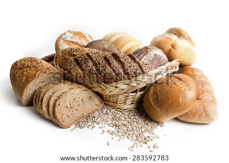 Assortment of different types of bread isolated on a white background - stock photo