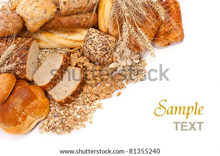 Assortment of different types of bread isolated on white background with text - stock photo