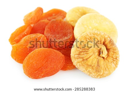 Assortment of dried fruits isolated on white - stock photo
