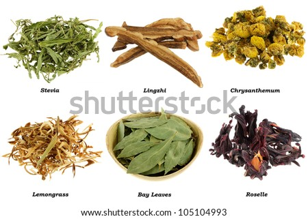 Assortment of Dried Herbal Tea (from leaves, flowers), isolated on white background - stock photo