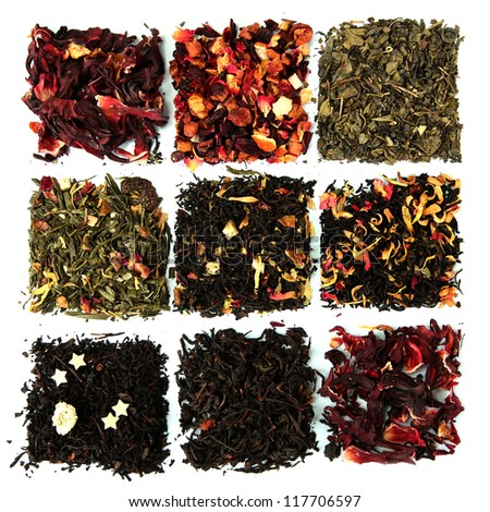 assortment of dry tea, isolated on white - stock photo