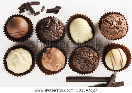 assortment of fine chocolates - stock photo