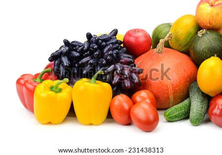 assortment of fresh fruits and vegetables isolated on white background - stock photo