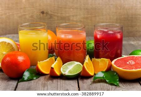 Assortment of fresh juices - stock photo