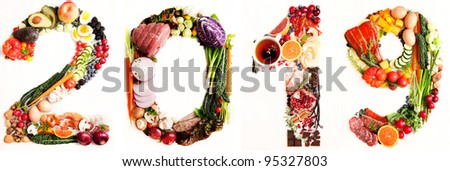 Assortment of Fresh Vegetables and Meats Arranged in 2019 - stock photo