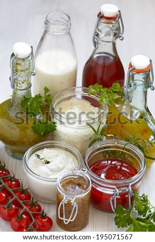 Assortment of homemade salad dressings and sauce - stock photo