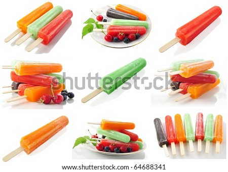 assortment of ice cream pops - stock photo