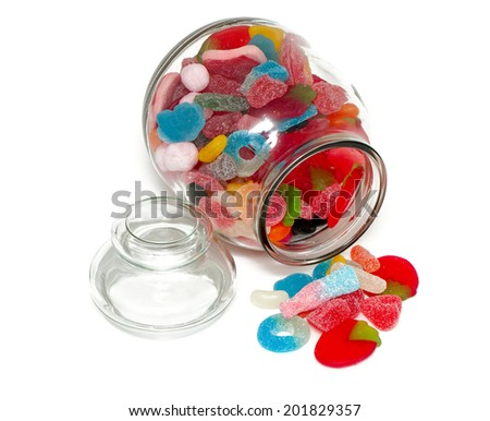 assortment of jelly candy in a glass jar - stock photo