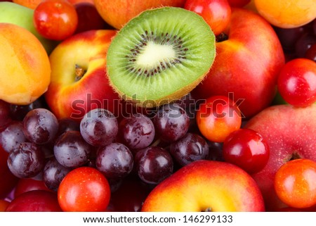 Assortment of juicy fruits   background - stock photo